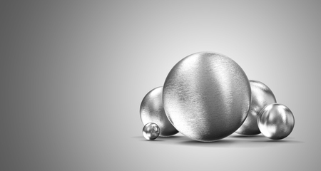 Group of Metal Spheres on gradient background. 3D Rendering