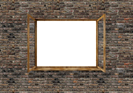 Open Window in Brick Wall isolated on white background. 3D Rendering Stok Fotoğraf