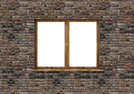 Window in Brick Wall isolated on white background. 3D Rendering Stok Fotoğraf