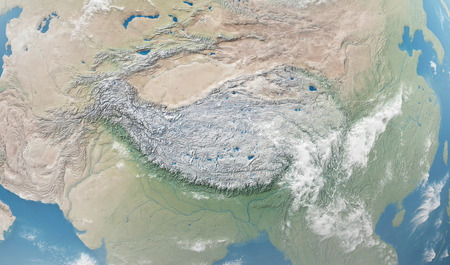 Close-up Detailed View on Tibetan Plateau from Space.