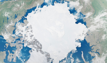 Close-up Detailed View on North Pole from Space. Stok Fotoğraf