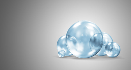 Group of Blue Glass Spheres on gradient background. 3D Rendering