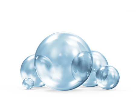 Group of Blue Glass Spheres on white background. 3D Rendering