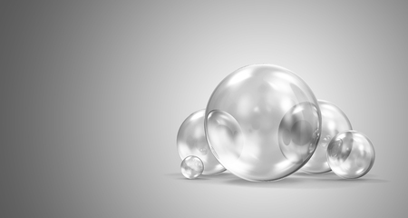 Group of Glass Spheres on gradient background. 3D Rendering