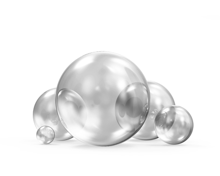 Group of Glass Spheres on white background. 3D Rendering