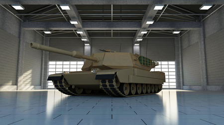 Heavy Military Tank in Modern Hangar with Big Windows. 3D Rendering