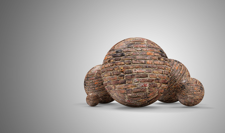 Group of Spheres made from Bricks on gradient background. 3D Rendering Imagens
