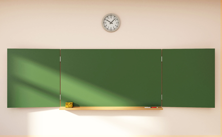 Folding Empty Green Chalkboard or School Blackboard. Education Concept. 3D Rendering