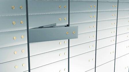 Close-up View of Open Deposit Bank Safe. Stok Fotoğraf - 146347759