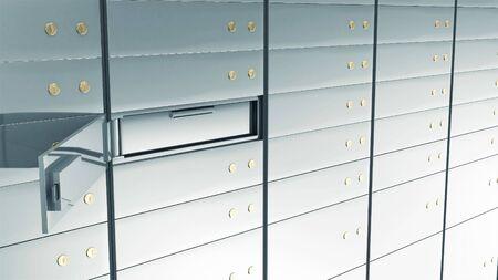 Close-up View of Open Deposit Bank Safe. Stok Fotoğraf