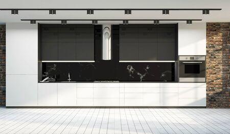 Modern Kitchen 3D Interior in Light Tones.