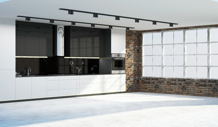 Modern Kitchen 3D Interior in LIght Tones. 3D Rendering