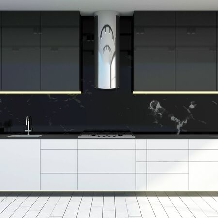 Modern Kitchen 3D Interior in Light Tones.