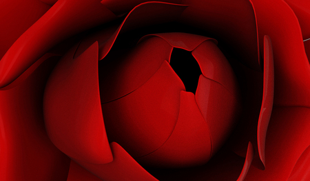 Close-up View of Red Rose. 3D Rendering Stok Fotoğraf