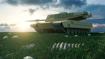 Heavy Military Tank in Battlefield Landscape at Sunset