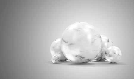Group of White Marble Spheres on gradient background. 3D Rendering
