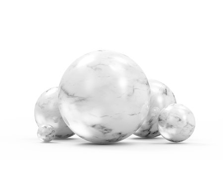 Group of White Marble Spheres on white background. 3D Rendering