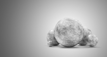 Group of Concrete Spheres on gradient background. 3D Rendering