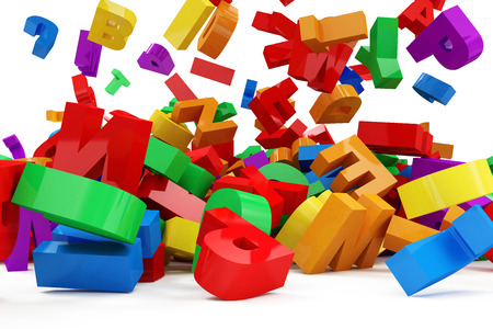 Close-up View of Heap of Colorful Letters Falling on white background. Education Concept