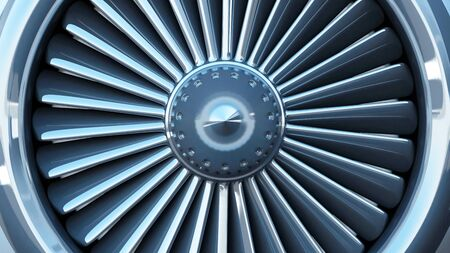Close-up View of Modern Airplane Jet Engine Turbine. 3D Rendering