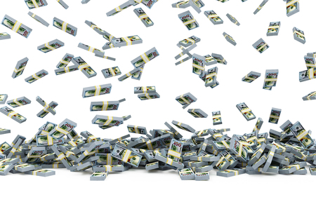 Heap of Stack of Dollar Bills Falling on white. Business and Finance Concept. 3D Rendering Imagens