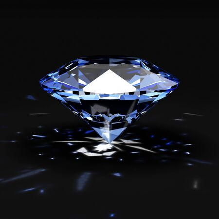 Blue Diamond with Glowing Rays on black