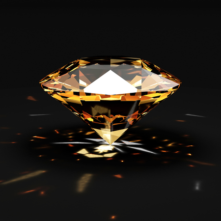 Orange Diamond with Glowing Rays on black background. 3D Rendering