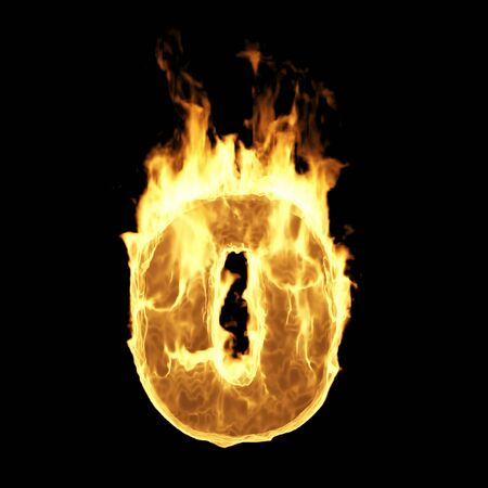 Burning Flame of Fire Numbers isolated on black background (Number 0). 3D Rendering