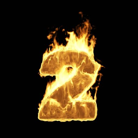 Burning Flame of Fire Numbers isolated on black background (Number 2). 3D Rendering