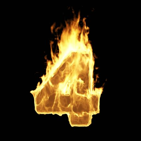 Burning Flame of Fire Numbers isolated on black background (Number 4). 3D Rendering Stok Fotoğraf