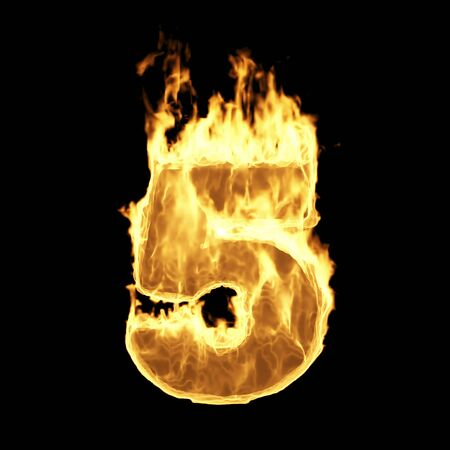 Burning Flame of Fire Numbers isolated on black background (Number 5). 3D Rendering Stok Fotoğraf