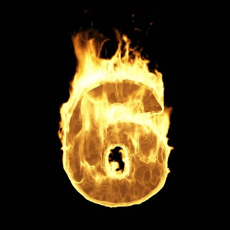Burning Flame of Fire Numbers isolated on black background (Number 6). 3D Rendering