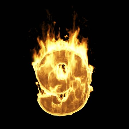 Burning Flame of Fire Numbers isolated on black background (Number 9). 3D Rendering Stok Fotoğraf