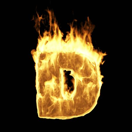 Burning Flame Alphabet. Fire Letters isolated on black background (Letter D). 3D Rendering