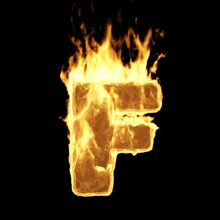 Burning Flame Alphabet. Fire Letters isolated on black background (Letter F). 3D Rendering