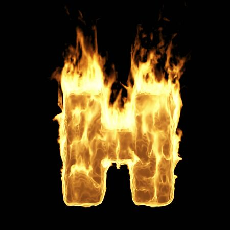 Burning Flame Alphabet. Fire Letters isolated on black background (Letter H). 3D Rendering Stok Fotoğraf