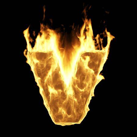 Burning Flame Alphabet. Fire Letters isolated on black background (Letter V). 3D Rendering Stok Fotoğraf - 146505222