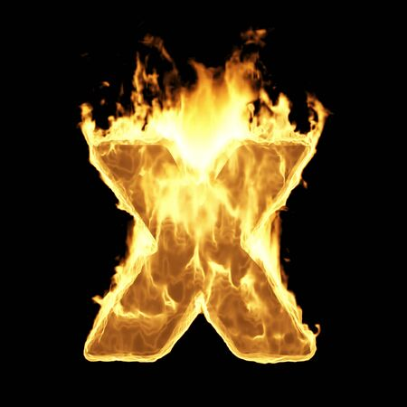Burning Flame Alphabet. Fire Letters isolated on black background (Letter X). 3D Rendering Stok Fotoğraf - 146505778
