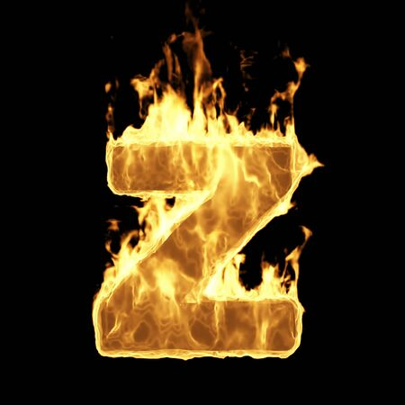 Burning Flame Alphabet. Fire Letters isolated on black background (Letter Z). 3D Rendering