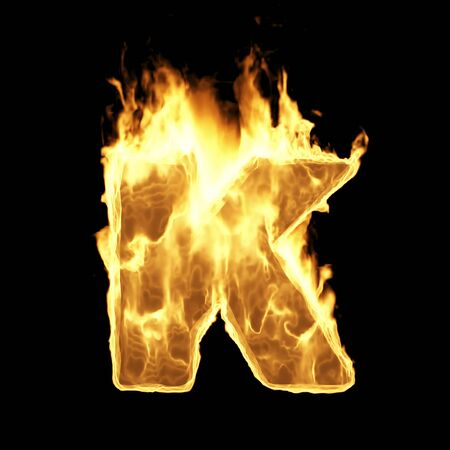 Burning Flame Alphabet. Fire Letters isolated on black background (Letter K). 3D Rendering Stok Fotoğraf - 146505689
