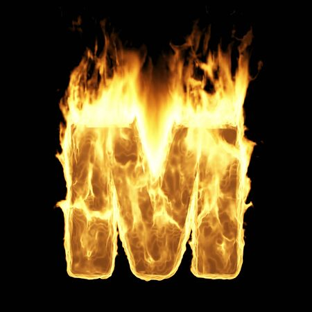 Burning Flame Alphabet. Fire Letters isolated on black background (Letter M). 3D Rendering