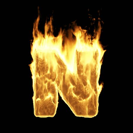 Burning Flame Alphabet. Fire Letters isolated on black background (Letter N). 3D Rendering Stok Fotoğraf - 146506404