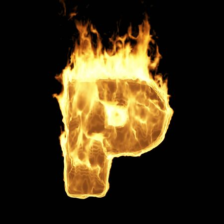 Burning Flame Alphabet. Fire Letters isolated on black background (Letter P). 3D Rendering