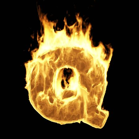Burning Flame Alphabet. Fire Letters isolated on black background (Letter Q). 3D Rendering