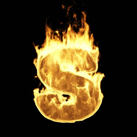 Burning Flame Alphabet. Fire Letters isolated on black background (Letter S). 3D Rendering
