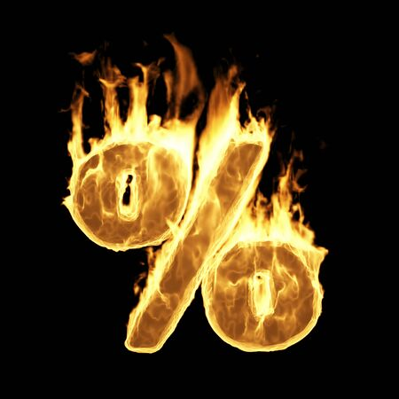 Percentage Sign and Symbol in Fire Flame on black background. Big Sale Concept. 3D Rendering