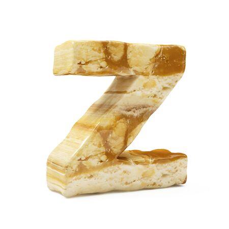 Caramel Peanut Alphabet isolated on white (Letter Z). 3D Rendering