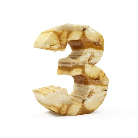 Caramel Peanut Numbers isolated on white (Number 3). 3D Rendering Stok Fotoğraf - 146652090