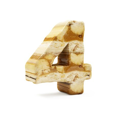 Caramel Peanut Numbers isolated on white (Number 4). 3D Rendering Stok Fotoğraf - 146736780