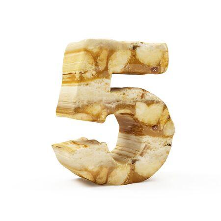 Caramel Peanut Numbers isolated on white (Number 5). 3D Rendering Stok Fotoğraf - 146651361